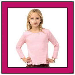 Size 2T Fuchsia Long Sleeve Lettuce Edge Girly Tee