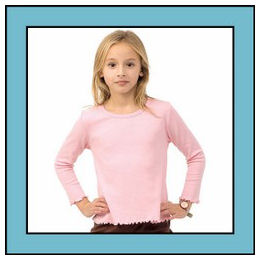 Size 8 Turquoise Long Sleeve Lettuce Edge Girly Tee
