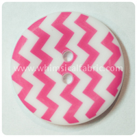 "Hot Pink Chevron 1"" Buttons - by the button"