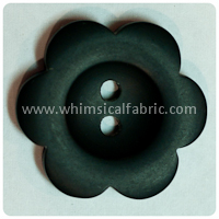 "Black Flower Matte 1"" Buttons - by the button"