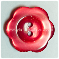 "Red Flower Pearl 1"" Buttons - carded set of 4 buttons"
