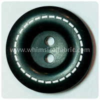 "Black Stitched 1"" Buttons - by the button"