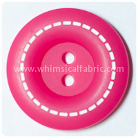 "Hot Pink Stitched 1"" Buttons - carded set of 4 buttons"