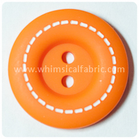 "Orange Stitched 1"" Buttons - by the button"