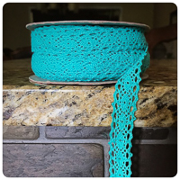 "Teal 1/2"" Crocheted Lace - by the yard"