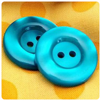 "Teal Round Pearl 1"" Buttons - carded set of 4 buttons"
