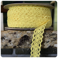 "Yellow 1/2"" Crocheted Lace - by the yard"