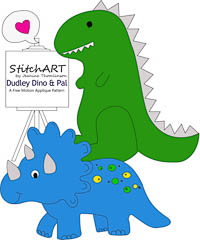 Dudley Dino and Pal - PDF FMA Pattern - StitchART