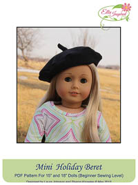"NEW Mini Holiday Beret PDF - Ellie Inspired - 15""&18"" Dolls"