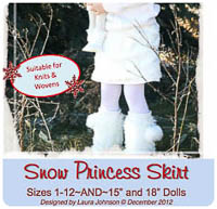 Snow Princess Skirt & Doll PDF - Ellie Inspired - Sizes 1-12