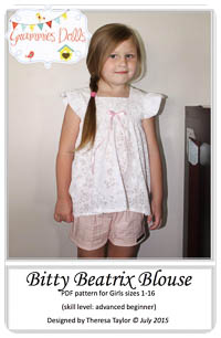 Bitty Beatrix Blouse PDF - Grammies Dolls - Sizes 1 thru 16