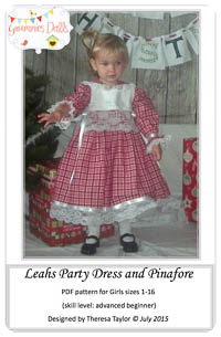 Leahs Party Dress & Pinafore PDF - Grammies Dolls - Sizes 1-16