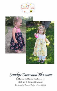 Sandys Dress and Bloomers PDF - Grammies Dolls - Sizes NB–16