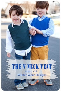 NEW V Neck Vest PDF - Winter Wear Designs - Sizes 1 thru 14