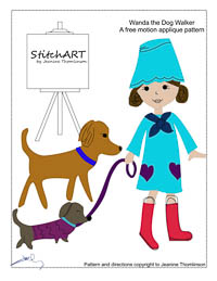 Wanda the Dog Walker - PDF FMA Pattern - StitchART