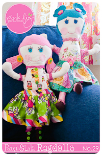 "Roxy & Lola Ragdolls PDF Pattern - Pink Fig - 18"" Dolls"