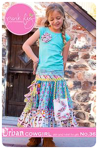 Urban Cowgirl Skirt PDF Pattern - Pink Fig - Sizes 2T thru 12Y