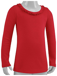 6M Red Ruffled Neck Long Sleeve Tee