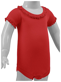 12M Red Ruffled Neck Short Sleeve Bodysuit