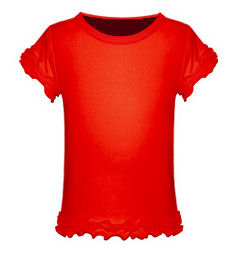 Size 4 Red Girls Triple Ruffled Short Sleeved Tee