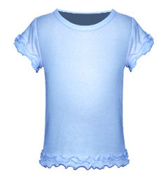 Size 6X Blue Girls Triple Ruffled Short Sleeved Tee
