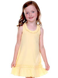 Size 3 Butter Ruffled Tank Dress - Cotton/Poly