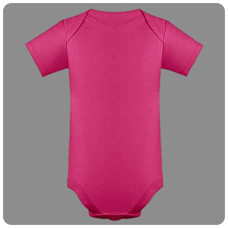 18M Hot Pink Short Sleeved Lap Shoulder Baby Bodysuit