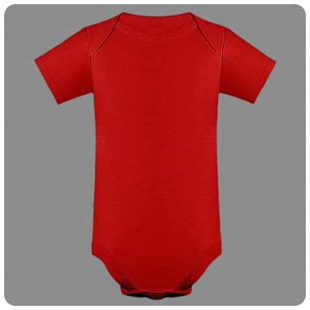 6M Red Short Sleeved Lap Shoulder Baby Bodysuit