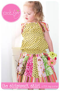 Stripwork Skirt PDF Pattern - Pink Fig - Sizes 6M thru 10Y