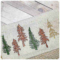 Evergreen Tree Border Embroidery - Whimsical Applique