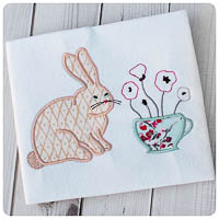 Wonderland Bunny & Tea Cup of Poppies - Whimsical Applique
