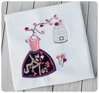 Wonderland Dress & Birdcage - Whimsical Applique