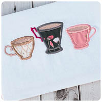 Wonderland Tea Cup Trio - Whimsical Applique