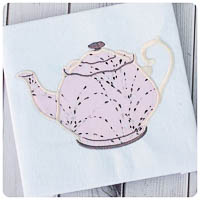 Wonderland Tea Pot - Whimsical Applique