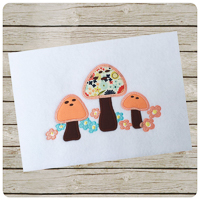 Woodland Mushrooms - Whimsical Applique