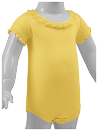 12M Yellow Ruffled Neck Short Sleeve Bodysuit
